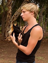 Pet owners are devoted to their pets and blond boys
